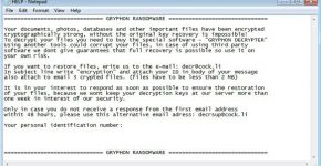 gryphon ransomware ransom note